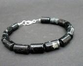 Men Raw Stone Bracelet, Raw Black Tourmaline Cylinder Shape, 925 Sterling Silver Bracelet, Unisex Bracelet, Black Tourmaline Bracelet