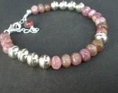 Pink Tourmaline Rondelle Bracelet, 925 Bali Silver Bracelet, Rainbow Tourmaline Bracelet, Pink Tourmaline Bracelet