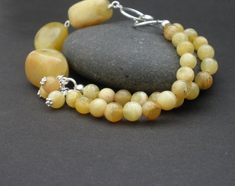 Yellow Opal Big Raw Stone Nugget, Yellow Opal Round Shape Beads, Double Strand 925 Sterling Silver Bracelet, Yellow Bracelet