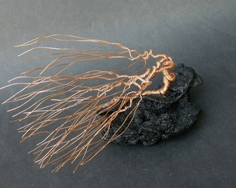 Windswept Wire Sculpture Bonsai Gem Tree on Natural Lanzarote Lava Stone