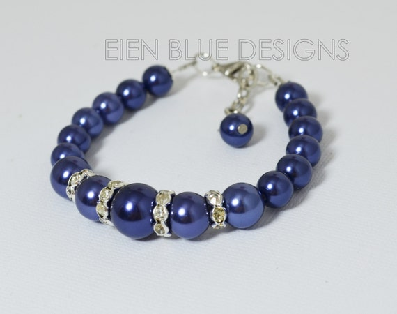 Navy Pearl Bracelet, Navy Pearl And Rhinestone Bracelet, Navy Wedding, Navy blue bracelet and earrings set, Navy Bridesmaid pearl Jewelry