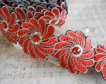 Red Stitched Floral Trim