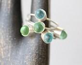 Petite Sea Glass & Sterling Ring - Aqua or Green