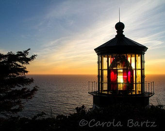 Lighthouse Sunset Photograph, Cape Meares in Oregon, Setting Sun Over Ocean, Atmospheric Photo,  8 x 10 Photo, Fine Art Photography