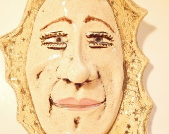 Handmade wall pocket face, home decor, home and living, kitchen and dining, wall hanging, ceramics and pottery