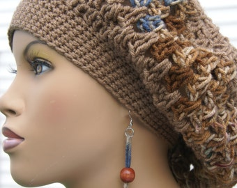 Crochet Tam Crochet Hat Slouchy with Matching Earrings-Mocha   Made To Order