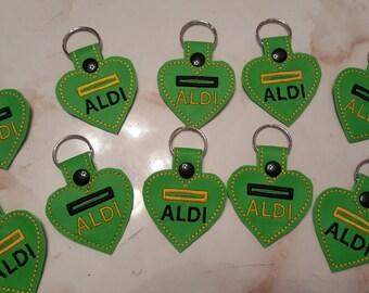 I Love ALDI  Heart Shaped Quarter Keeper Keychain FOB Lime