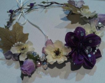 Purple Floral Bridal Wreath, Wedding Head Piece, Wreath, Wedding Party Wreath, Custom Colors ,Bride Hair Wreath, Bridesmaid Head Piece SALE