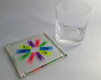 Rainbow resin coaster - clothes peg coaster, drinks coaster, drinks mat, placemat, mug coaster, teacher gift, gift under 10, thank you gift