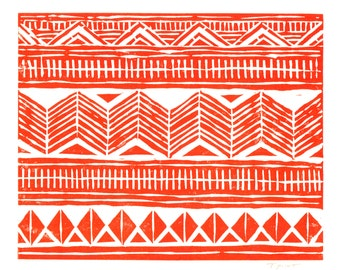 10 DOLLAR SALE - Linocut Print - Geometric Design 8 x 10 Block Print - Clearance