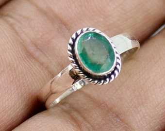925 Solid Sterling Silver Faceted Emerald Gemstone Women Ring SJXR_0188