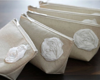 Linen Bridesmaid Clutches, Summer Country Wedding, Rustic, Clutch Purse, Bridesmaid Gift - Set of 3 Clutches