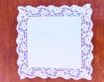 Vintage Linen and Lace Wedding or Temple Hanky
