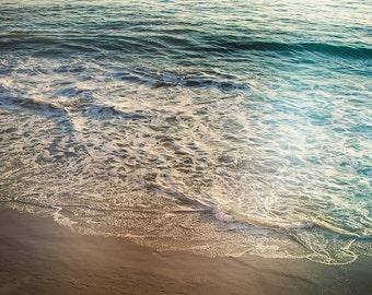 Retro Beach Artwork, Ocean Photograph, Modern Coastal Picture, Beach House Decor, White and Aqua Art Print, Nature Photography