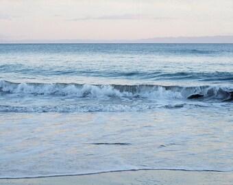 Coastal Wall Decor, Beach Artwork, Ocean Sunset Picture, Grey and Pink Bathroom Art, Small Art Print, Nature Photograph, Seascape Photo