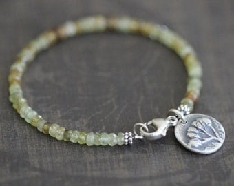 SUMMER SALE Grossular Garnet Bracelet, Sage Green, Amber, Layering Bracelet, Stacking Bracelet, Silver Charm, 4mm, Botanical Charm, Sterling