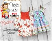 Beatrice Toddler Peasant Dress Pattern pdf. Girl's Peasant Dress Pattern pdf. Toddler Sewing Pattern. Long Sleeve Dress.Girls Sewing Pattern