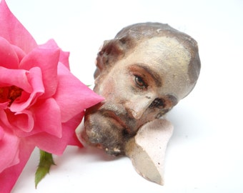 Antique Jesus Head Fragment, Vintage Religious Santos Folk Art