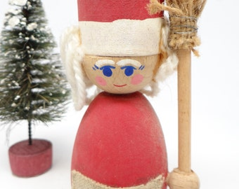 Vintage 1960's Swedish Santa's Helper Candle Holder, Hand Painted Wood for Christmas