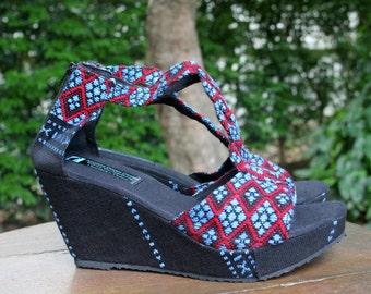 T Strap Wedge Heel Purple Womens Sandals, Vegan Shoes In Blue Ethnic Karen Hand Woven Textiles Boho Shoes - Hilary
