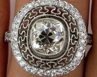 Vintage 2.22CT Old Mine Cushion Diamond Platinum Engagement Ring
