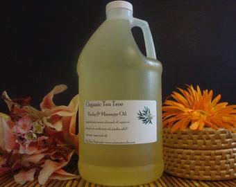Pure Organic Tea Tree Massage Oil Blend 1/2 Gallon (64oz) 100% Natural
