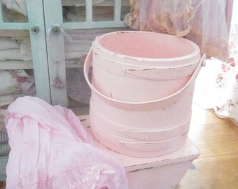 Vintage chippy painted pink  shabby chic  farmhouse bucket shabby decor