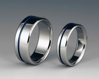 Titanium Ring Set - Wedding - Promise - Off Centered Blue Pinstripe