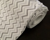 Reusable Paperless Towels with Snaps Flannel and Terry Cloth Chevron White Gray Set of 10