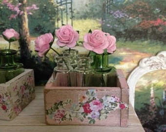 Dollhouse Miniature Shabby Chic Pink Farmhouse Cottage Vintage Style Wooden Box with Paper Roses