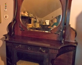 Antique Victorian Sideboard with Beveled Mirror