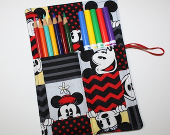 Pencil Roll, Mickey Mouse fabric holds Pencils, Markers, Sharpies, Twistables, Pencil Case Organizer, Rollup