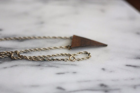 Leather Triangle on Vintage Twist Chain Necklace // Handmade Necklace // Wood & Leather Jewelry