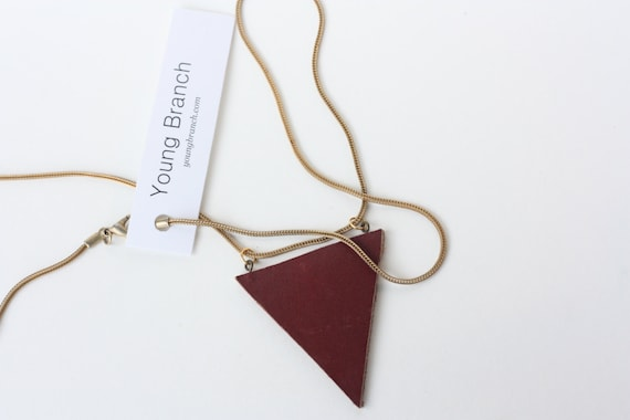 Leather and Vintage Brass Chain Necklace // Minimalist Necklace