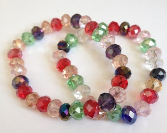 Multicoloured beaded bracelet faceted beads pretty