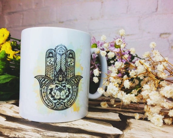 HAMSA MUG- Hippie mug- Hamsa- Hand if Fatima- Illustration- Tea cup- Screen print- Motif- Coffee mug- Original Design- Coffee- Student- Yoga
