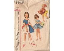 Vintage 1960s Knee Length Girls Dress Pattern Ruffled Panties, Tied Waist One Piece Dress, Simplicity Sewing Pattern 3945, Bust 23, Waist 21