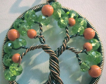 Orange Blossom Tree of Life, Swarovski Crystal Coral Pearls and Peridot Tree of Life, Wearable Art