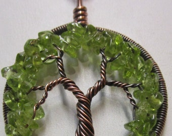 August Birthstone Peridot Tree of Life set in Antiqued Copper, Antique Copper Wire Wrapped Peridot Tree of Life