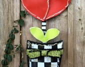 Mackenzie Childs Inspired Valentines Door Hanger, Large Screen Wire Black and White Checkered Pot with Heart Flower and Bright Green Bow