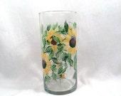 Sunflower hand painted vase