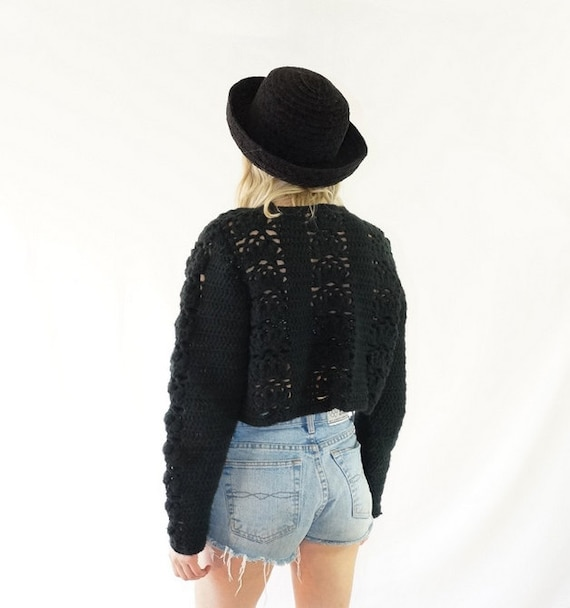 Chunky Knit 70s Cropped Cardigan Festival Thick Black Knitted