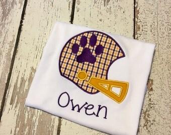 LSU Tigers Purple and Gold football helmet, lsu tigers boy shirt, lsu Tigers purple gold boy outfit, LSU boys shirt, LSU baby shirt