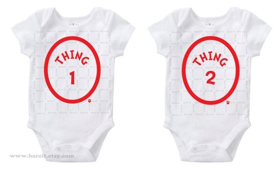 Thing 1 & Thing 2 Inspired by Dr Seuss's Cat In The Hat Twins Cute Baby Funny Humor Onesie/Creeper Size 3, 6, 12, 18, 24 Months Color White