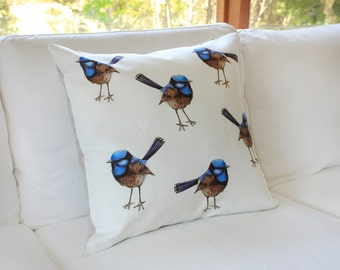 Large Blue Wrens Cushion Cover. Watercolor Australian Fairy Wren Bird. Linen Cotton Throw Pillow. Ready to Ship