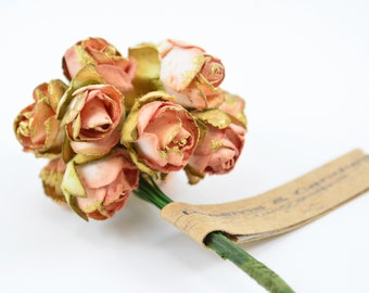 1 flowers Branch - 12 Flowers colors Salmon with gold - Paper Flowers