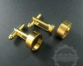 10pcs Screw Change Series 12mm setting size screwed top bezel gold plated brass DIY cufflinks,cuff link supplies jewelry findings 1500056