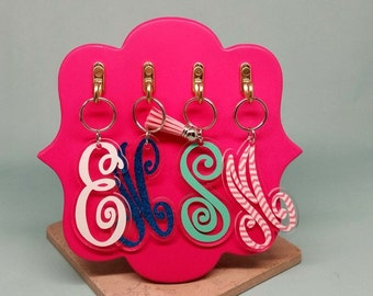 Swirly letter acrylic keychain Made in USA