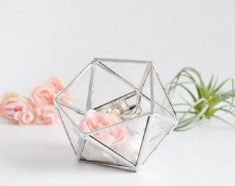 Glass Box Wedding Gift Wedding Ring Box Glass Terrarium Clear Glass Planter Geometric Box
