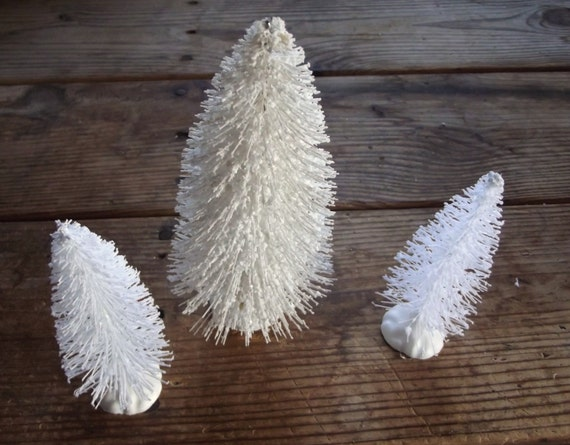 3 White Bottle Brush Mini Trees / Christmas Craft / Winter